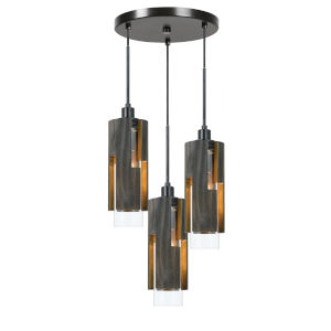 Gray and Black Three-Light Pendant