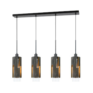 Gray and Black Four-Light Pendant