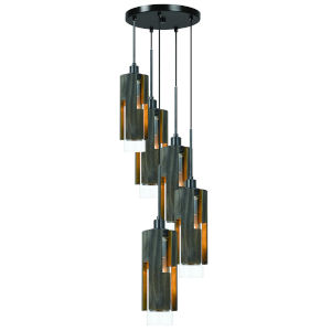 Gray and Black Five-Light Pendant