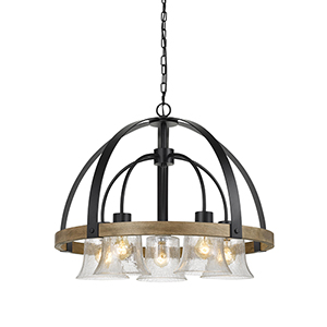 Black with Wood Five-Light Chandelier