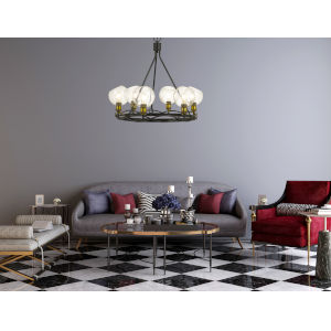 Soria Iron and Antique Brass Six-Light Chandelier