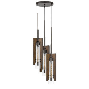 Almeria Pine and Iron Three-Light Pendant