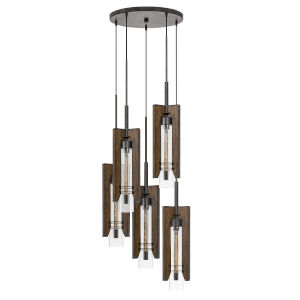 Almeria Pine and Iron Five-Light Pendant