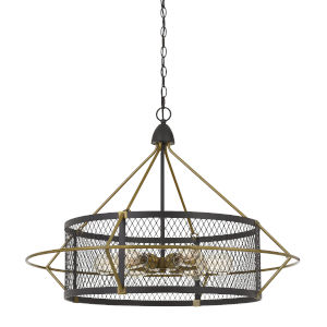 Caserta Antique Brass and Black Six-Light Chandelier