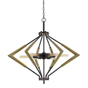 Malounta Antique Brass and Black Six-Light Chandelier