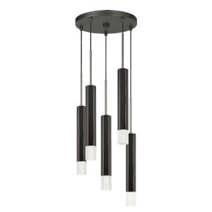 Black and Chrome Five-Light Integrated LED Pendant