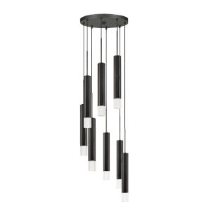 Black and Chrome Eight-Light Integrated LED Pendant