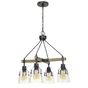 Aosta Gray and Black Four-Light LED Chandelier