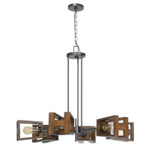 Biel Walnut and Black Six-Light Chandelier