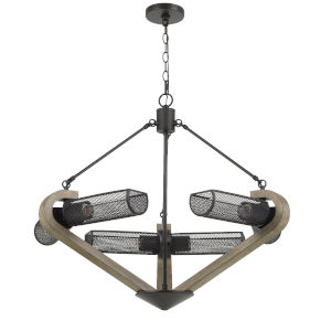 Baden Antique Brass and Black Six-Light Chandelier