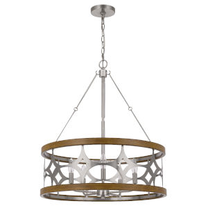 Abingdon Brushed Steel Oak Five-Light LED Chandelier