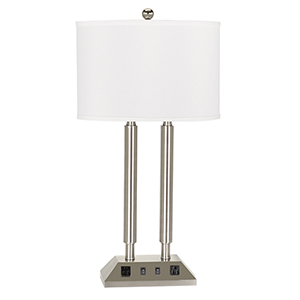 Hotel Brushed Steel Two-Light Desk Lamp with Two Outlets