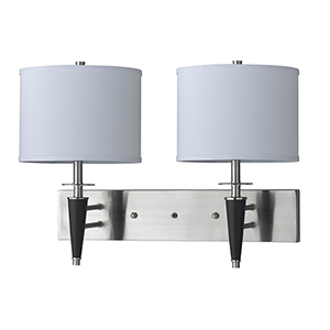 Hotel Brushed Steel Two-Light Wall Sconce