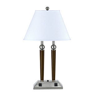 Hotel Brushed Steel and Espresso 28-Inch Two-Light Table Lamp with Outlet