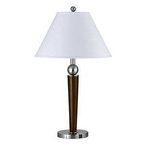 Hotel Brushed Steel and Espresso Two-Light Desk Lamp with Outlet