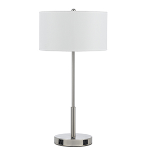 Hotel Brushed Steel One-Light 100W Table Lamp with Two Outlets