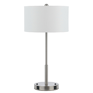 Hotel Brushed Steel Two-Light 100W Table Lamp with Two Outlets
