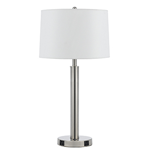 Hotel Brushed Steel One-Light 60W Table Lamp with Two Outlets
