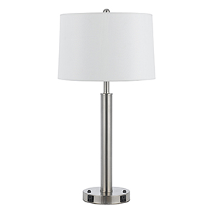 Hotel Brushed Steel Two-Light 60W Table Lamp with Two Outlets