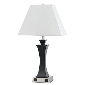 Hotel Brushed Steel and Espresso 29-Inch One-Light Table Lamp with Two Outlets