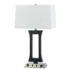 Hotel Brushed Steel and Espresso 28-Inch Two-Light Table Lamp with Two Outlets