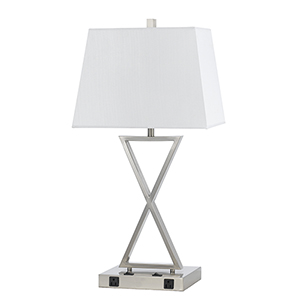 Hotel Brushed Steel Two-Light Table Lamp with Two Outlets