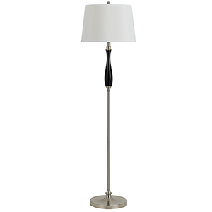 Hotel Brushed Steel and Black One-Light Floor Lamp