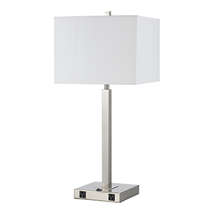 Brushed Steel One-Light Table Lamp with Two Outlets