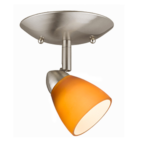 Serpentine Brushed Steel One-Light Halogen Plug In Semi Flush Mount with Shade