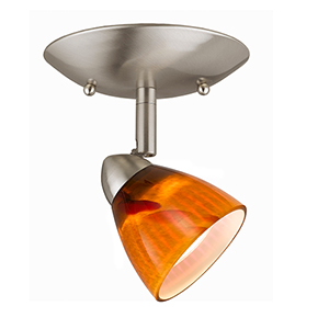 Serpentine Brushed Steel One-Light Halogen Plug In Semi Flush Mount with Amber Glass Shade