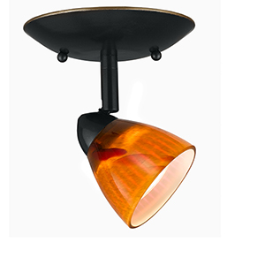 Serpentine Dark Bronze One-Light Halogen Plug In Semi Flush Mount with Amber Spot Glass Shade