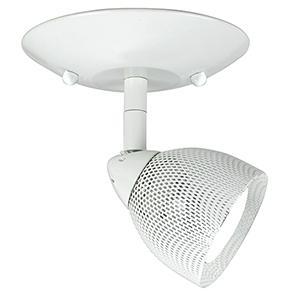 Serpentine White One-Light Halogen Plug In Semi Flush Mount with Mesh White Shade