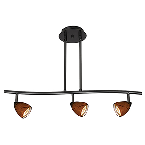 Serpentine Black Three-Light Halogen Track Light with Amber Spot Glass