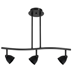 Serpentine Black Three-Light Halogen Track Light with Black Shade