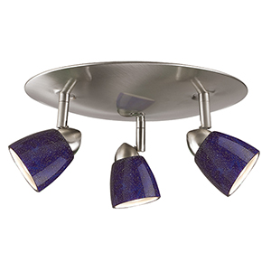Serpentine Brushed Steel Three-Light Halogen Semi Flush Mount with Blue Glass Shades