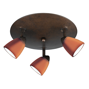Serpentine Rust Three-Light Halogen Semi Flush Mount with Amber Glass