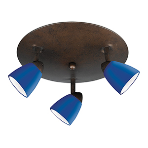 Serpentine Rust Three-Light Halogen Semi Flush Mount with Blue Glass
