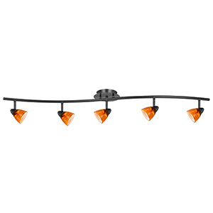 Serpentine Dark Bronze Five-Light Halogen Track Light with Amber Spot Glass