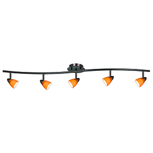 Serpentine Rust Five-Light Halogen Track Light with Amber Glass