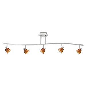 Serpentine Rust Five-Light Halogen Track Light Fixture Body Only
