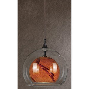Rust One-Light Mini Pendant with Amber Swirl and Clear Glass