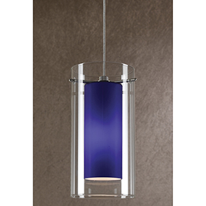 Brushed Steel One-Light Mini Pendant with Blue and Clear Glass