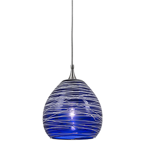 Brushed Steel One-Light Mini Pendant with Blue Glass