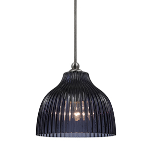 Brushed Steel One-Light Mini Pendant with Blue Violet Glass