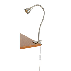 Brushed Steel One-Light Clip-on LED Desk Lamp