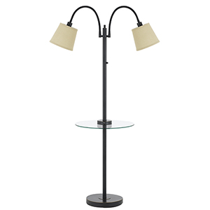 Dark Bronze Two-Light Floor Lamp with Glass Table and USB Charging Port