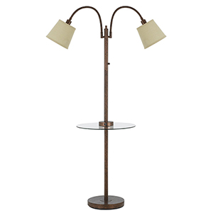 Rust Two-Light Floor Lamp with Glass Table and USB Charging Port