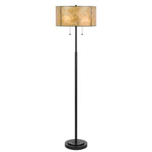 Dark Bronze Two-Light Floor Lamp with Golden Amber Mica Shade