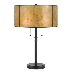 Dark Bronze Two-Light Table Lamp with Golden Amber Mica Shade