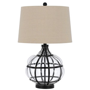 Iron and Glass One-Light Seventeen-Inch Table Lamp
